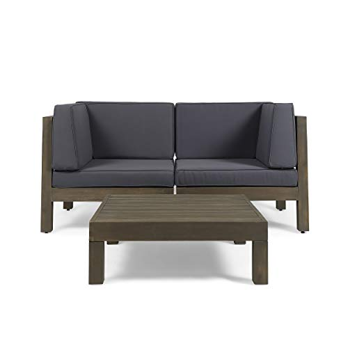 Great Deal Furniture Keith Outdoor Sectional Loveseat Set with Coffee Table | 2-Seater | Acacia Wood | Water-Resistant Cushions | Gray and Dark Gray