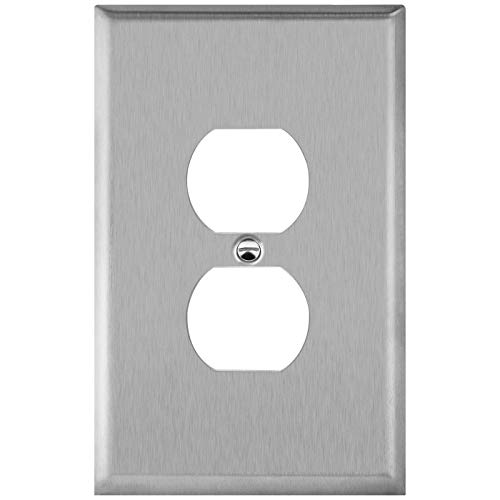 ENERLITES Duplex Receptacle Outlet Jumbo Metal Wall Plate, Stainless Steel Outlet Cover, Corrosion Resistant, Over Size 1-Gang 5.5' x 3.5', UL Listed, 7721O, 430 Stainless Steel, Silver