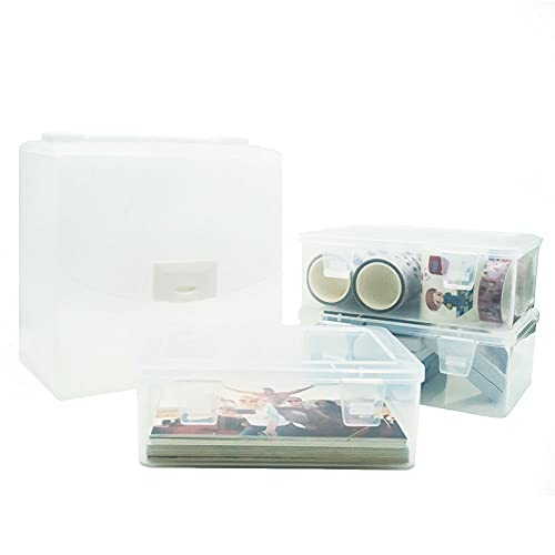 GIIYAA 사진 저장 상자 공예 구성 설정 큰 상자 3 명확한 플라스틱 저장 케이스 내부의 4X6 큰 사각형 명확한 플라스틱 저장 용기를 위한 카드 펜 작은 공예품