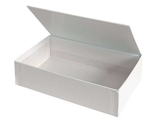 Aurora GB Decorate Me Craft Box, Pencil Size, 8 9/16 in. L x 5 in W x 2 1/4 in. H, White, 'Cigar Box' styled Hinged Lid, Eco-Friendly, Recyclable, Made in USA (AUA98050)