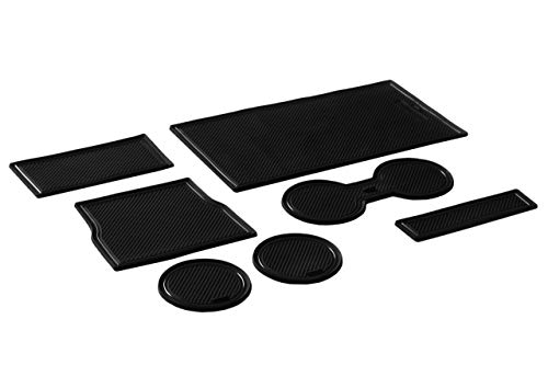 CupHolderHero for Tesla Model 3 2017-2020 Custom Fit Cup Holder and Center Console Compartment Liner Accessories 7-pc Set (Solid Black)