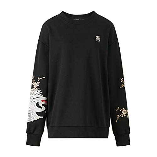 Sweat-Shirt brodé Automne Hommes épaule Sweat-Shirt Hip-Hop Pull à Capuche Automne Veste Adapté aux Personnes de Toutes Tailles (Color : Black, Size : 170/92A)