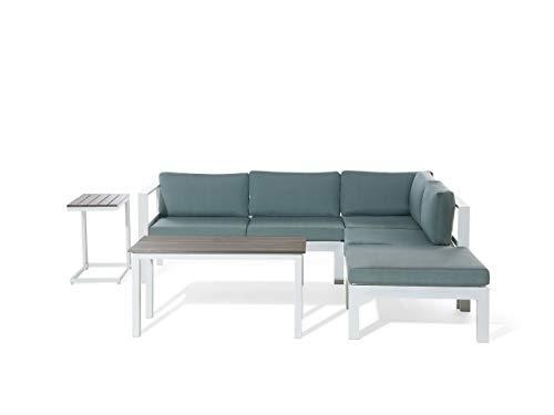 Beliani Divano angolare da Giardino in Alluminio Bianco con Cuscini Messina