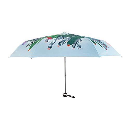 ZHQHYQHHX Faltbarer Regenschirm 6 Knochen Sommerschattierung aus Hitze abschirmender Hautschutz Sonnenbrand Pflanze bequemes Öffnen und Schließen Feinwetterregenschirm leicht niedlich mit Deckel ZHQHY