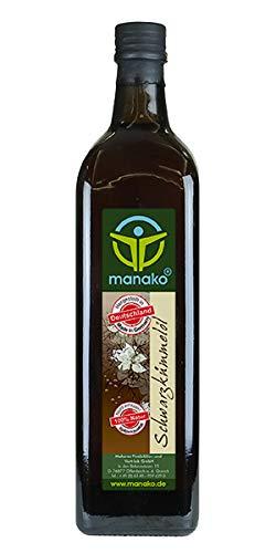 manako Schwarzkümmelöl human, kaltgepresst, 100% rein, 1000 ml Glasflasche (1 x 1 l) Bild