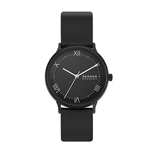 Skagen Men's Nillson Quartz Analog Stainless Steel and Leather Watch, Color: Black (Model: SKW6623)