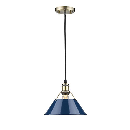 Golden Lighting 3306-M AB-NVY Orwell Pendant, Aged Brass...