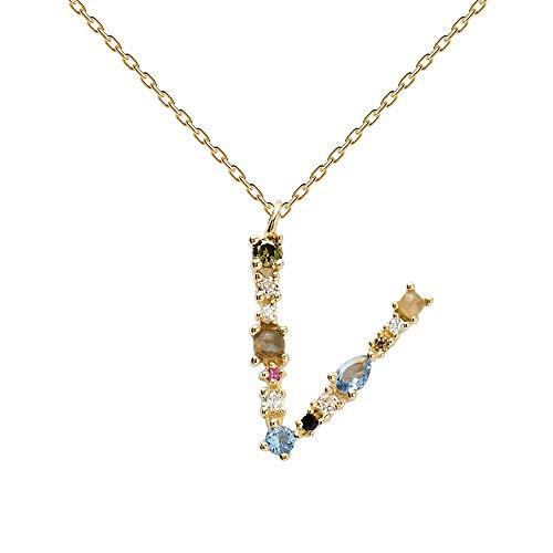 PDPAOLA - Buchstabe V Halskette - 925er Sterlingsilber 18k Vergoldung - Damenschmuck