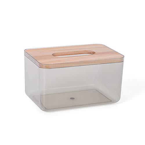 Clenp Caja de pañuelos Rectangular, Rejilla con Tapa de Madera, Transparente, Soporte de Caja de pañuelos de Escritorio de plástico, Utilizado para el Fregadero de baño de la Oficina Negro S