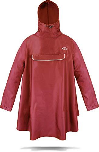 normani Regenponcho mit Ärmeln und Brusttasche für Damen und Herren (S-3XL) -YKK Brusttasche und 3M™ Scotchlite™ Reflektor Farbe Rot Größe L/XL