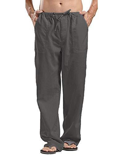 JINIDU Herren Baumwoll Leinenhose Loose Fit Leichte elastische Taille Yoga Strandhose, 1- Kaffee, L