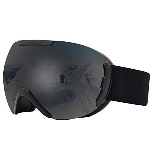 Skibrille für Erwachsene, neueste Skibrillen Snowboardbrillen für Erwachsene Winddichtes Anti-Fog Anti-Glare UV-Schutz-Doppelobjektiv für Erwachsene Professionelle Snowmobile Skate Skifahren,Schwarz