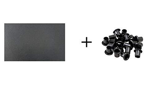 BiMordiscos Pack van Kydex folie/thermoplastisch materiaal (Zwart, 1,8 mm) en Zwarte elastische teflon oogjes/klinknagels - kydex hoezen (20 stuks, 6 mm)