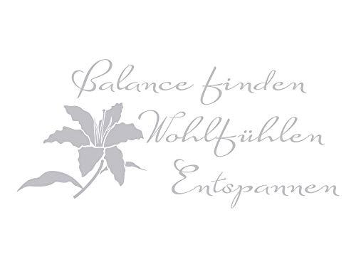 GRAZDesign Fensteraufkleber Bad Balance Finden mit Blume, Fensteraufkleber Küche, Glastattoo Bad-Fenster Dusche Duschkabine / 86x40cm
