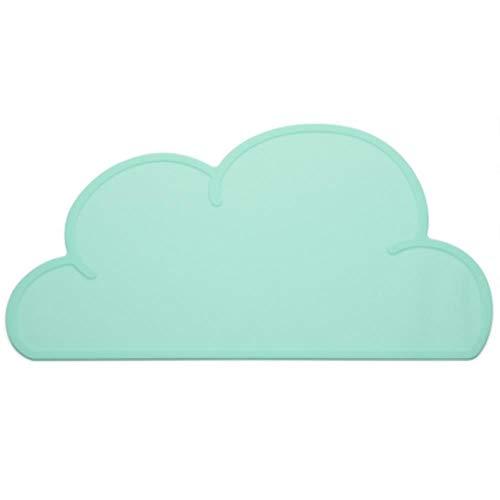 Piore siliconen hond Placemat Waterdichte wolkvorm Voedingsmat Pad voor kat Gemakkelijk waskom Voedsel drinkwater, Groen, 46,8 x 26,8 cm (L x B)