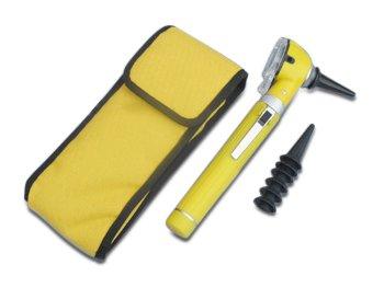Mini Otoskop mit Tasche, Batterien und Ersatz-Trichter in Gelb