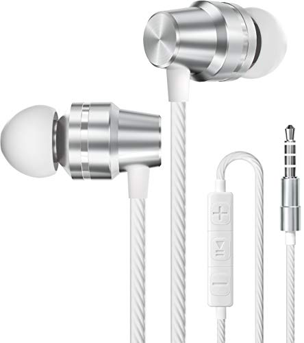 Earbuds Wired with Microphone and Volume Control, Noise Isolating Metal Ear Buds Earphones with Microphones Stereo Bass in-Ear Headphones Headset with Mic for Phone Computer Laptop PS4 JBL