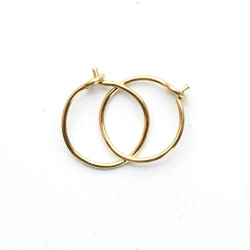 Tiny Hoop Earrings 14k Yellow Gold Fill, 8mm 24 gauge Handmade Extra Thin Everyday Minimalist Style Huggie Hoops for Women, Children 6.5mm Inner Diameter