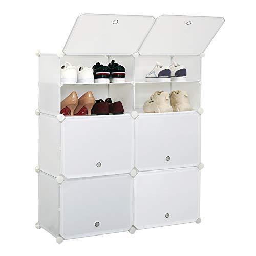 Meerveil Schuhschrank, Kunststoff Schuhablage mit 6 Fächer und 2 Reihen, DIY Schuhregal, Multifunktionaler Speicher, 83 * 31 * 93cm (Weiß)