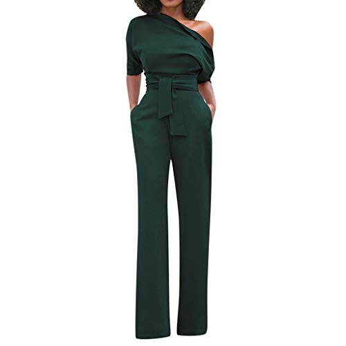 xoxing Women's Sexy Solid Off Shoulder Short Sleeve with Belt Slim Jumpsuit Army Green