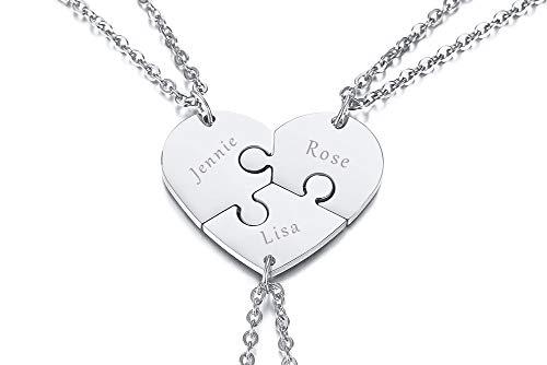 XUANPAI Personalisierte Edelstahl Passende Herzform Puzzle Anhänger Beste Freund Freundschaft Gravur Anhänger Halskette für Frauen Mädchen