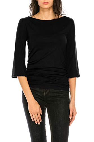 CLEMONCE Women's 3/4 Sleeve Boat Neck Ruched Shirred Side Flare Sleeve Top Black M