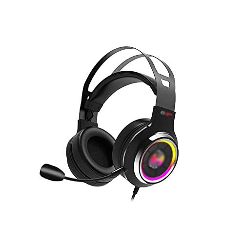 WGLL Auriculares de Juego para PS4 con Mic,Ordenador Personal, Xbox One, Laptop, Sonido Envolvente sobre el Ruido del oído Cancelando Auriculares con RGB Control de Volumen de Luces para teléfono INT