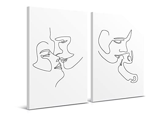 El Beso - Juego de 2 Cuadros de 80 x 120 cm - Arte Abstracto Moderno - Decoración para Salón y Dormitorio, Lienzo de Poliéster y Bastidor de Madera, LEN-125
