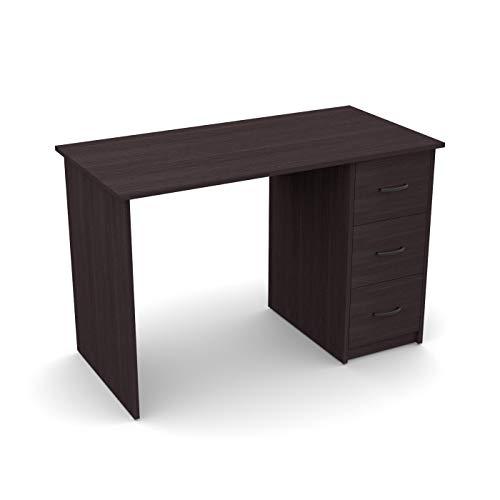 LEVIRA – Mesa de Oficina, Escritorio, Mesa con cajones, Aure - 110 x 72 - Wengue Oscuro
