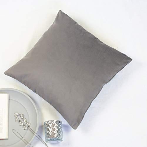 Offtopic Juego de 2 fundas de cojín para sofá, 45 x 45 cm, de terciopelo suave, cojines decorativos elegantes de color liso, lavable a máquina, color marrón