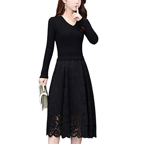 Temperament średniej długości francuski dzianina sukienka na szyję z płaszczem wewnątrz sukienki sweter podstawy (Kolor : Czarny, Rozmiar : XL)