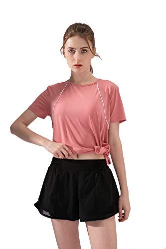 Not apply Damen-Trikot, elastisch, schnelltrocknend, für Fitness, Yoga -  Pink -  Groß