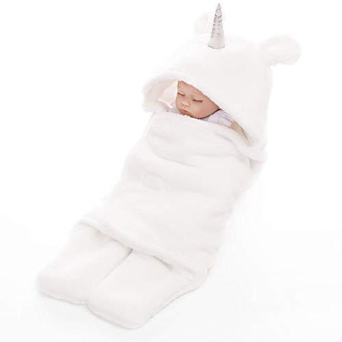 Manta de recepción con capucha para bebé, de algodón, de forro polar, para bebés y niñas de 0 a 12 meses (blanco)