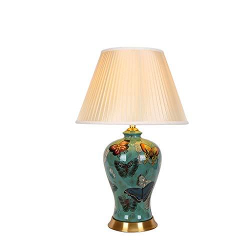 STERB Lámpara de Mesa Moderna, florero de cerámica Hecha a Mano, Sombra Beige de Lino del Tambor for el Dormitorio Sala de Estar Familiar, Euro Design