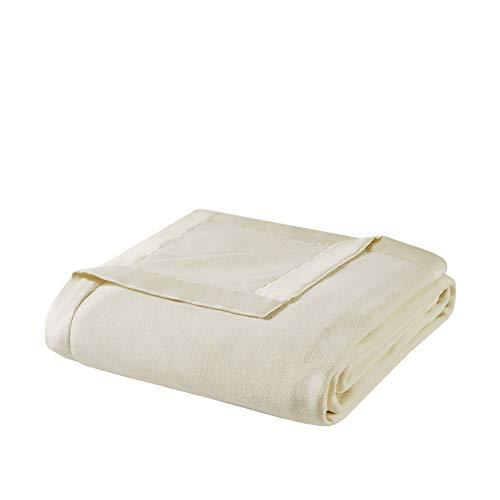 True North by Sleep Philosophy Micro Fleece Luxury Blanket Ivory 9090 Full/Queen Size Premium Soft Cozy Mircofleece For Bed, Coach or Sofa