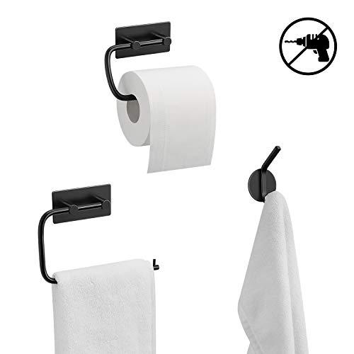Umi. by Amazon - Juego de Toallero, Portarrollos para Papel Higiénico y Gancho, Set de 3 Accesorios de Baño sin Taladro, Negro
