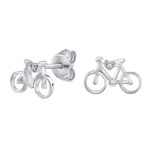 SILVEGO - MW14247 - Pendientes para Mujer de Plata 925 Bicicleta con Circonita