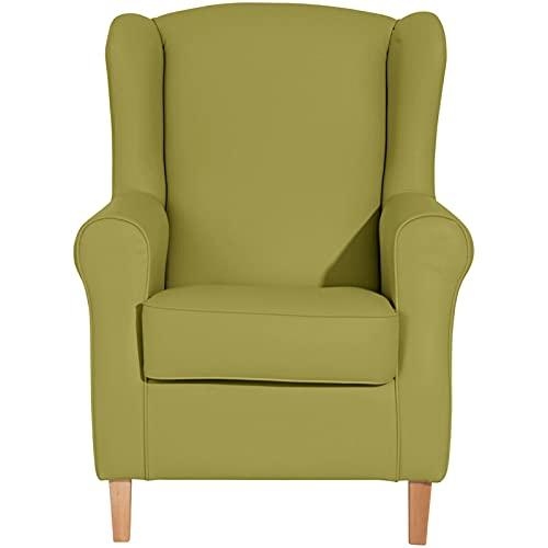 ZeoTioo Ohrensessel Ohrenbackensessel Grün Buche Natur ohrensessel esszimmerstühle esstisch stühle