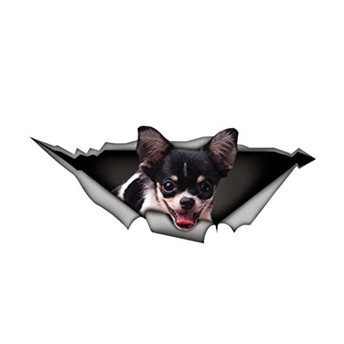 Creative Animal Car Sticker Negro Blanco Chihuahua 3D Vinilo Impermeable Aparino Automóvil Alto Accesorios Decoración Decorativa PVC 13 * 5 cm (Size : 26cm x 10cm)