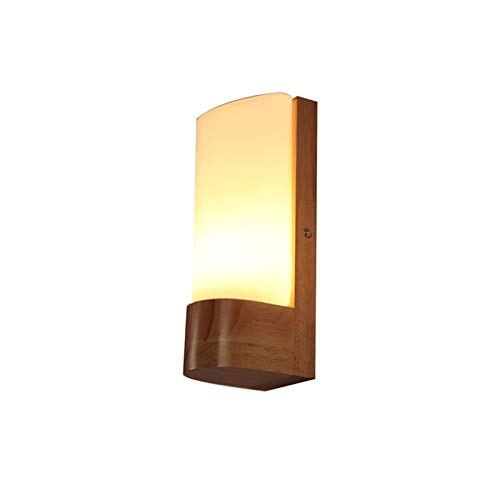 YXLMAONY Lámpara de Pared Moderna de Madera LED para Sala de Estar, Cocina, decoración de Pared, lámpara de Pasillo, lámpara de baño, Pantalla de Vidrio, lámpara de Lectura para el Pasillo de la Sala