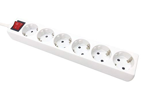 FERRIELECTRO Regleta alargadora con Interruptor Base Multiple con Interruptor. (3x1.5mm) regleta con Sistema de autoproteccion Infantil (6 Tomas, Blanco 1.5m)