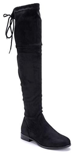 Schuhtempel24 Damen Schuhe Overknee Stiefel Stiefeletten Boots schwarz Blockabsatz Zierschleife/schlupf 3 cm