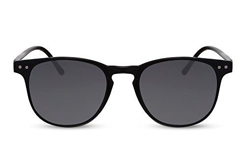 Cheapass Gafas de Sol Negras Diseño Redondas Grises UV400 Accesorios Verano Festival Esencial Mujeres Hombres