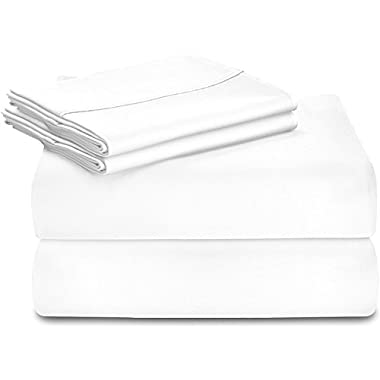 Utopia Bedding Premium 100% Cotton bed Sheet Set (King, White) - 4 Piece Bedding Set, Flat Sheet, Fitted Sheet and 2 Pillow Cases