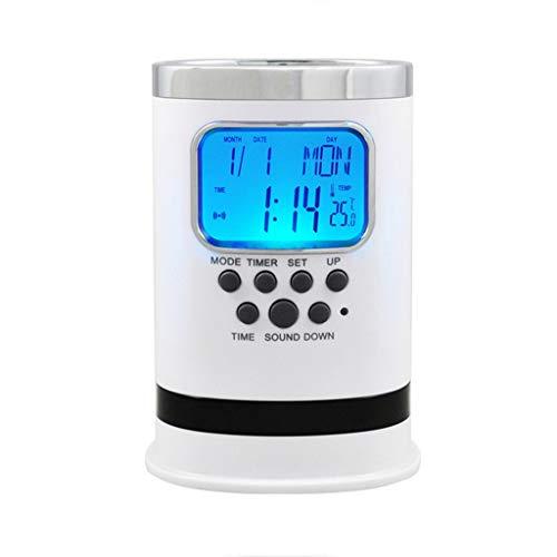 TQJ Despertadores Digitales Silencio luminoso Reloj despertador Oficina titular de la pluma de escritorio Reloj despertador Estudiante Y Reloj electrónico de cabecera Alarma Inteligente de niños Reloj