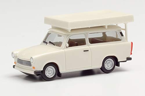 herpa 024181-002 Trabant 601 Universal mit Dachzelt im Fahrzustand, perlweiß in Miniatur zum Basteln Sammeln und als Geschenk