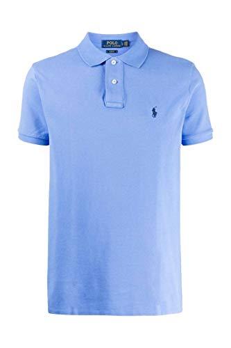 Polo Ralph Lauren Mod. 710795080 Poloshirt Piqué Kurze Ärmel Slim Fit Herren Hellblau M