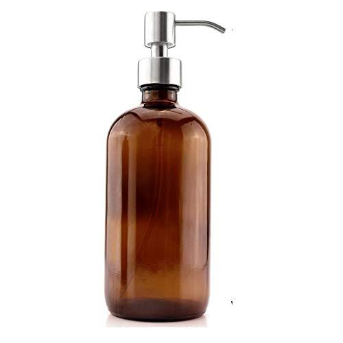 Katela Botellas de Vidrio ámbar de 16 onzas con Bombas de Acero Inoxidable, dispensador de jabón Boston para aromaterapia, aceites Esenciales, Productos de Limpieza, perfumes (1 Paquete)