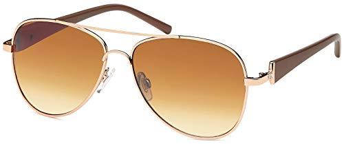 styleBREAKER Damen Pilotenbrille mit getönten Gläsern, Sonnenbrille mit lackierten Bügeln und Strassstein 09020053, Farbe:Gestell Gold-Dunkelbraun / Glas Braun verlaufend