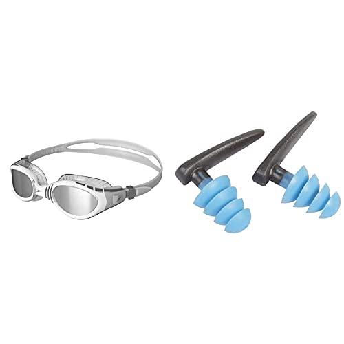 Speedo Unisex Adult Futura Biofuse Mirror Flexiseal Goggle & Biofuse Ohrstöpsel fürs Schwimmen, Grau/Blau
